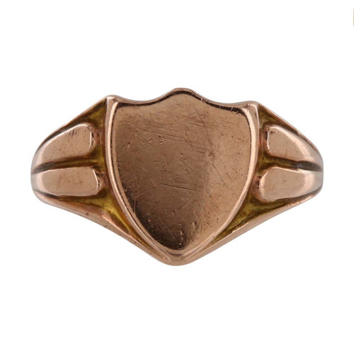 Vintage 9ct Rose Gold Shield Signet Ring