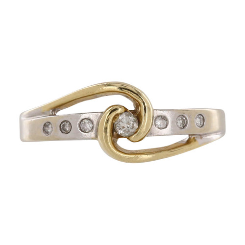 Pre Owned 14ct Gold Diamond Two Colour Ring