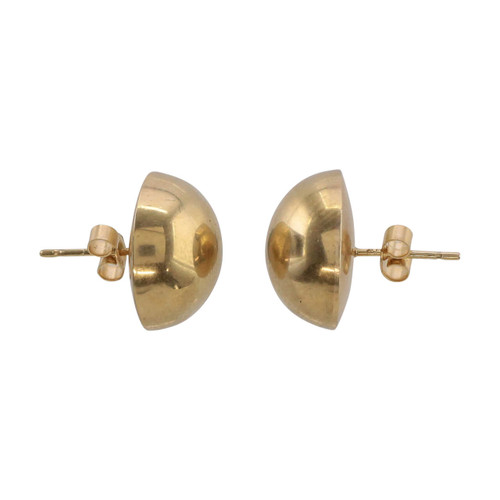 Side Image of Second Hand 9ct Gold Half Ball Stud Earrings