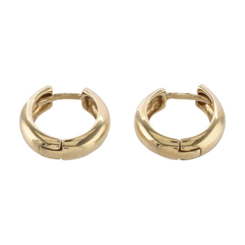 Front Image of Pre Owned 9ct Gold Oval Hoop Earrings