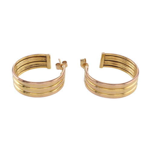 Front Image of Second Hand 9ct Gold Italian Hoop Earrings