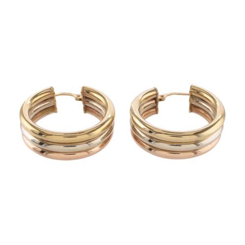 Front View of Second Hand 9ct Gold 3 Colour Hoop Earrings