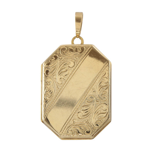Front Image of Pre Owned 9ct Gold Octagonal Locket