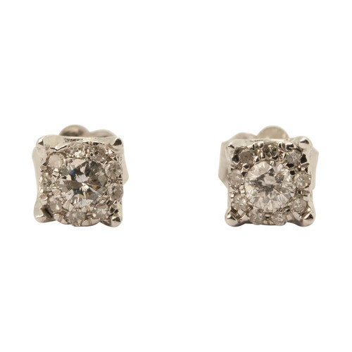 Main Image of Pre Owned 10ct Gold 0.25ct Diamond Stud Earrings