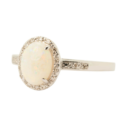 Front Image of Pre Owned 14ct Gold Opal & Diamond Dress Ring