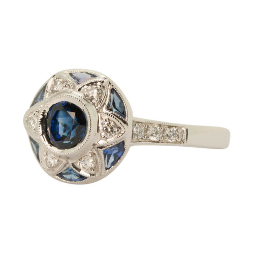 Main Image of Pre Owned 18ct Gold Deco Style Sapphire & Diamond Ring