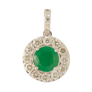 Main Image of Pre Owned 14ct Gold Emerald & Diamond Pendant