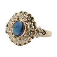 Main Image of Vintage 14ct Gold Cabochon Sapphire & Diamond Dress Ring