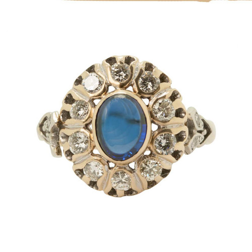 Front Image of Vintage 14ct Gold Cabochon Sapphire & Diamond Dress Ring