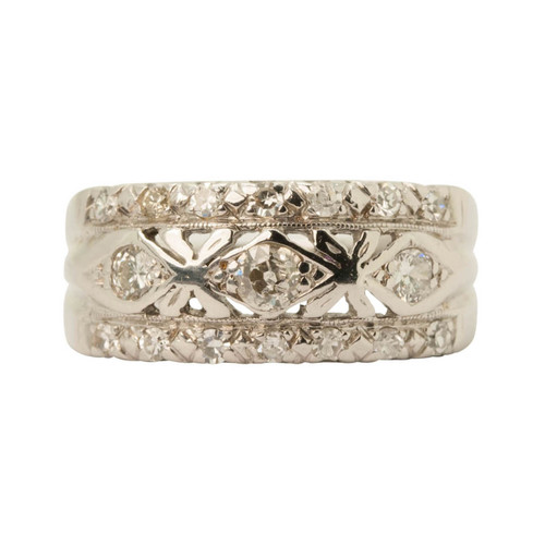 Front Image of Pre Owned 14ct White Gold 3 Row Diamond Dress Ring