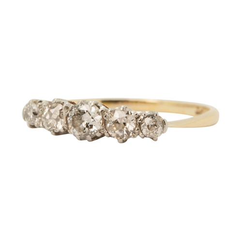 Main Image of Vintage 18ct Gold & Platinum 5 Stone Diamond Ring