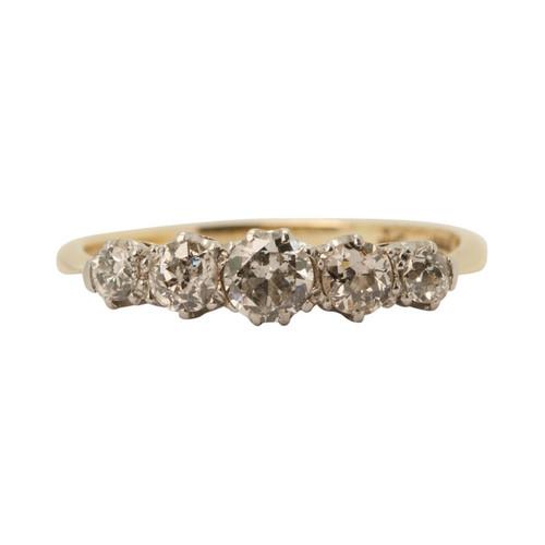 Front Image of Vintage 18ct Gold & Platinum 5 Stone Diamond Ring