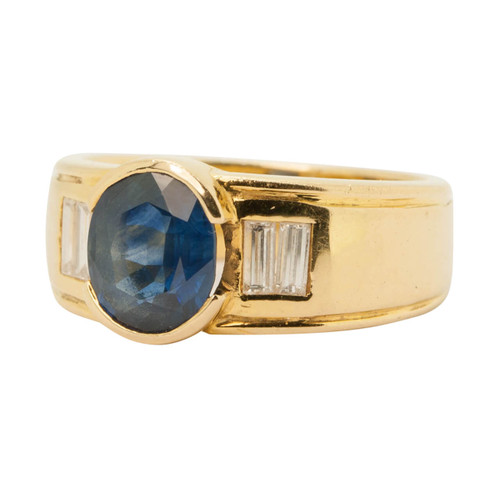 Main Image of Pre Owned 18ct Gold Sapphire & Diamond Wide Ring