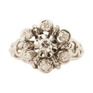 Front Image of Pre Owned Vintage French Platinum 7 Stone Diamond Ring