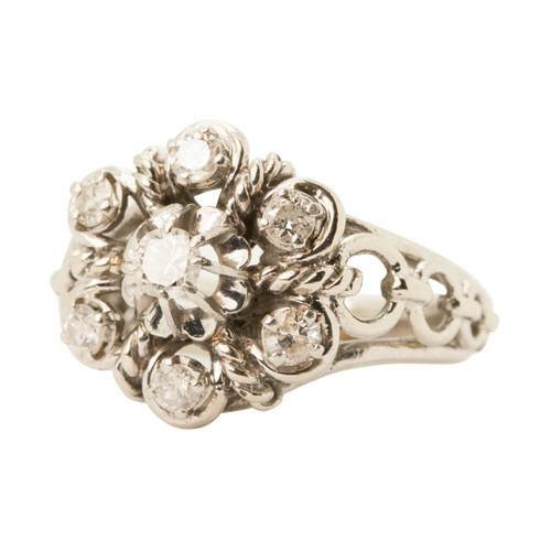 Main Image of Pre Owned Vintage French Platinum 7 Stone Diamond Ring