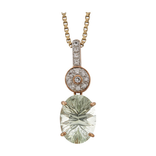 Main Image of Second Hand 9ct Rose Gold Green Amethyst and White Topaz Pendant