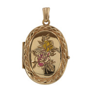 Front Image of Pre Owned 9ct Gold Floral Locket