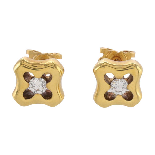 Front Image of Pre Owned 18ct Gold Diamond Earrings
