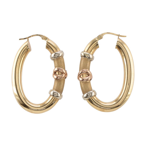 Main Image of Pre Owned 9ct Gold Fancy Hoop Earrings
