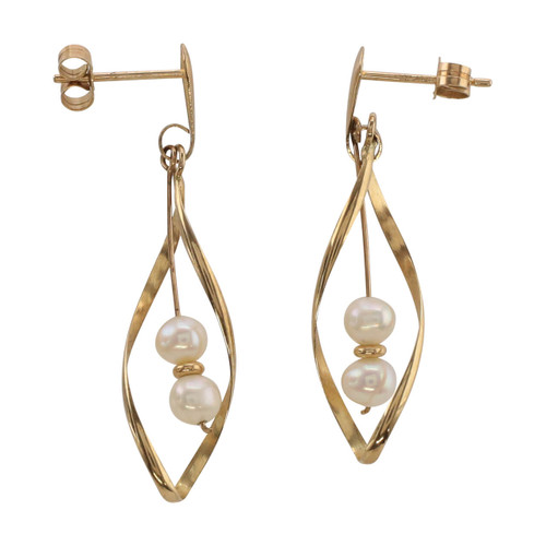Main Image of Pre Owned 9ct Gold Peal Drop Earrings
