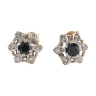 Front Image of Pre Owned 9ct Gold Sapphire & Diamond Cluster Earrings