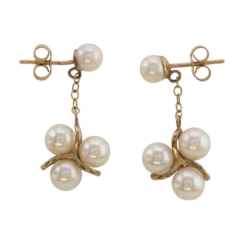 Front Image of Pre Owned 9ct Gold Pearl Drop Earrings