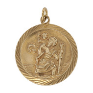 Front Image of Vintage 9ct Gold St Christopher Pendant