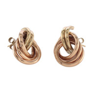 Front Image of Pre Owned 9ct Gold Knot Stud Earrings
