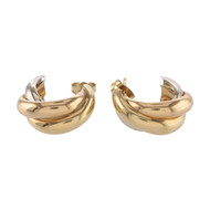 Front Image of Second Hand 9ct 3 Colour Gold Half Hoop Earrings