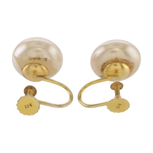 Rear Image of Second Hand 9ct Gold Button Pearl Screw Back Earrings