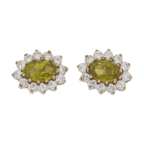 Image of Second Hand 9ct Gold Peridot & Cubic Zirconia Cluster Earrings