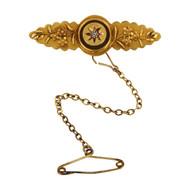 Antique Victorian 15ct Gold Diamond Brooch
