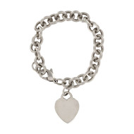 Second Hand Tiffany Silver Charm Bracelet with a Heart Tag