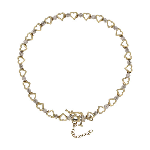Second Hand 9ct Gold Diamond Heart Bracelet