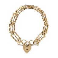 Second Hand 9ct Gold 3 Bar Gate Bracelet