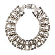 Second Hand Silver Wide Fancy Link Bracelet