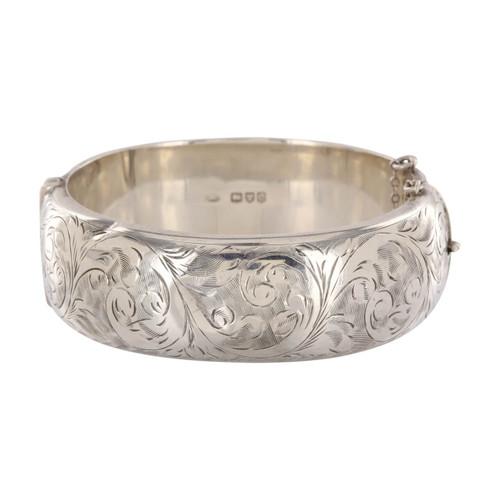 Vintage Silver Wide Engraved Bangle
