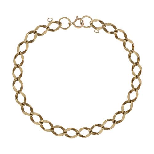 Second Hand 9ct Gold Flat Curb Charm Bracelet
