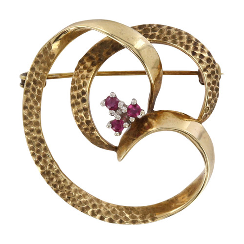 Second Hand 9ct Gold Ruby Swirl Brooch