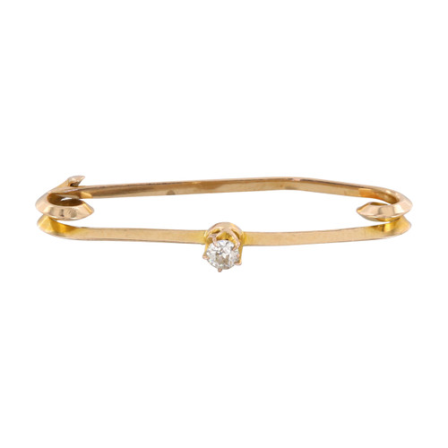 Pre Owned 9ct Gold Diamond Bar Brooch