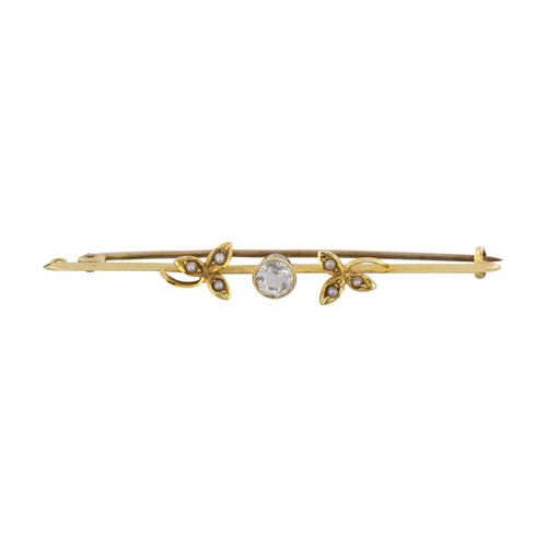 Vintage 15ct Gold Aquamarine & Seed Pearl Bar Brooch