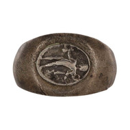 Front View of Roman Silver Mercury Ring