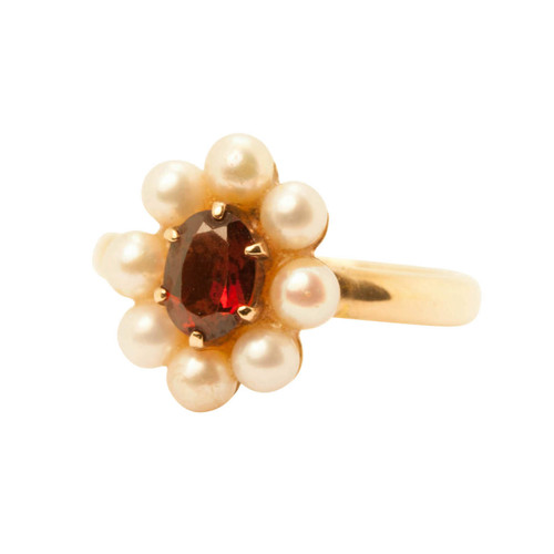 Second Hand 9ct Gold, Garnet & Peal Cluster Ring