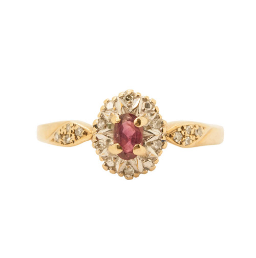 Second Hand 9ct Gold, Ruby & Diamond Cluster Ring