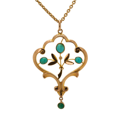 Vintage Style 9ct Gold Turquoise Pendant & Chain