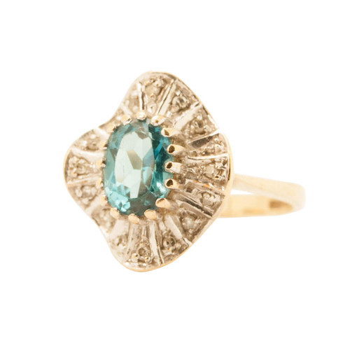 Second Hand 9ct Gold, Blue Topaz Nouveau Style Ring