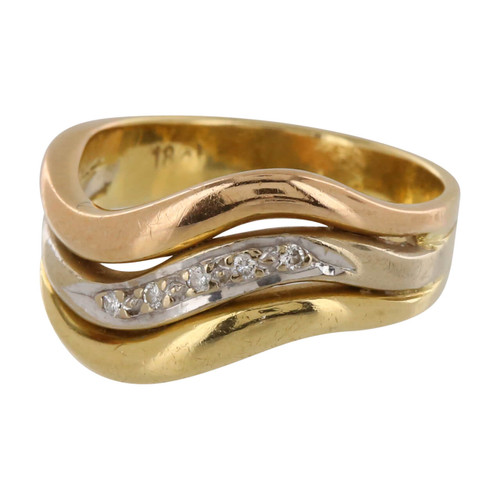 Second Hand 3 Colour 18ct Gold Diamond Wave Ring