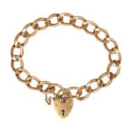 Vintage 9ct Gold Flat Curb Charm Bracelet & Heart Padlock