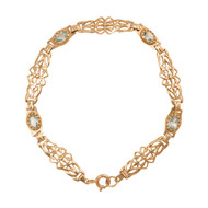 Second Hand 9ct Gold Blue Topaz Fancy Bracelet