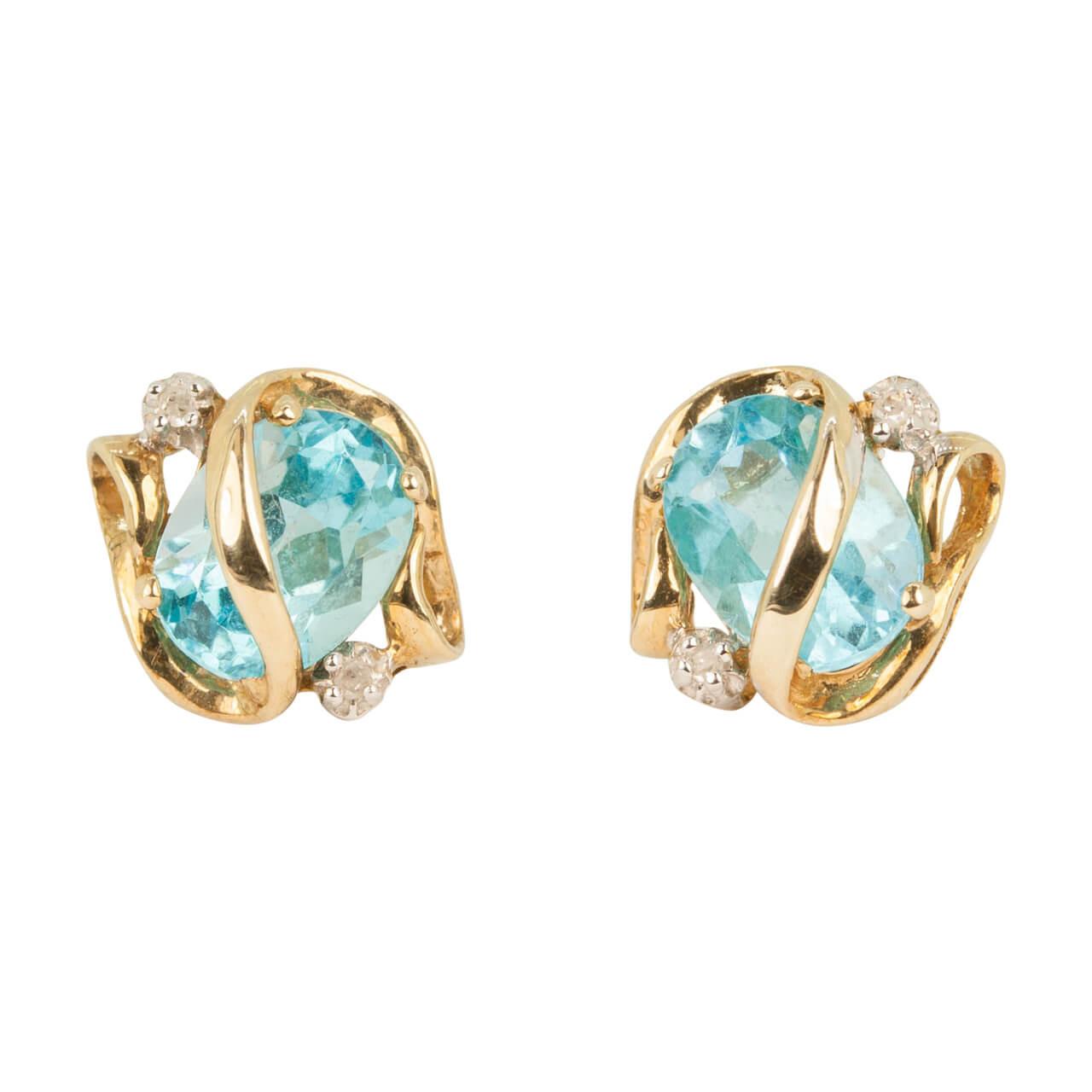 ac17601672963 Second Hand 9ct Gold Blue Topaz & Diamond Stud Earrings